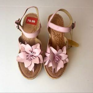 BORN Womens Wedge Sandals Pink Flowers Size 6